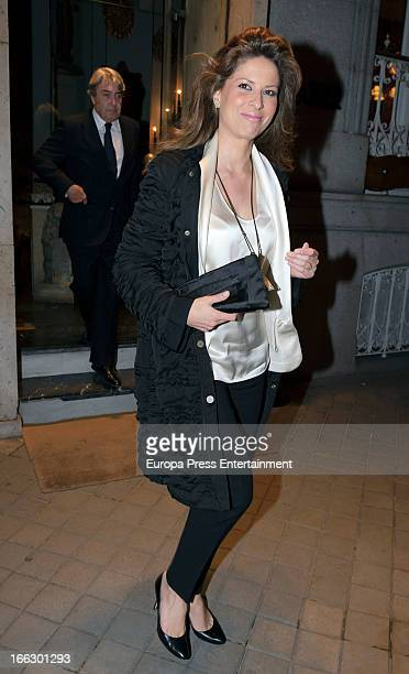 Elena Cue is seen leaving a restaurant on April 10 2013 in Madrid Spain