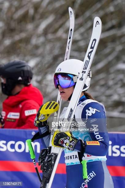 Elena Curtoni of Italy celebrates during the Audi FIS Alpine Ski World Cup Women's Downhill on January 23, 2021 in Crans Montana Switzerland.