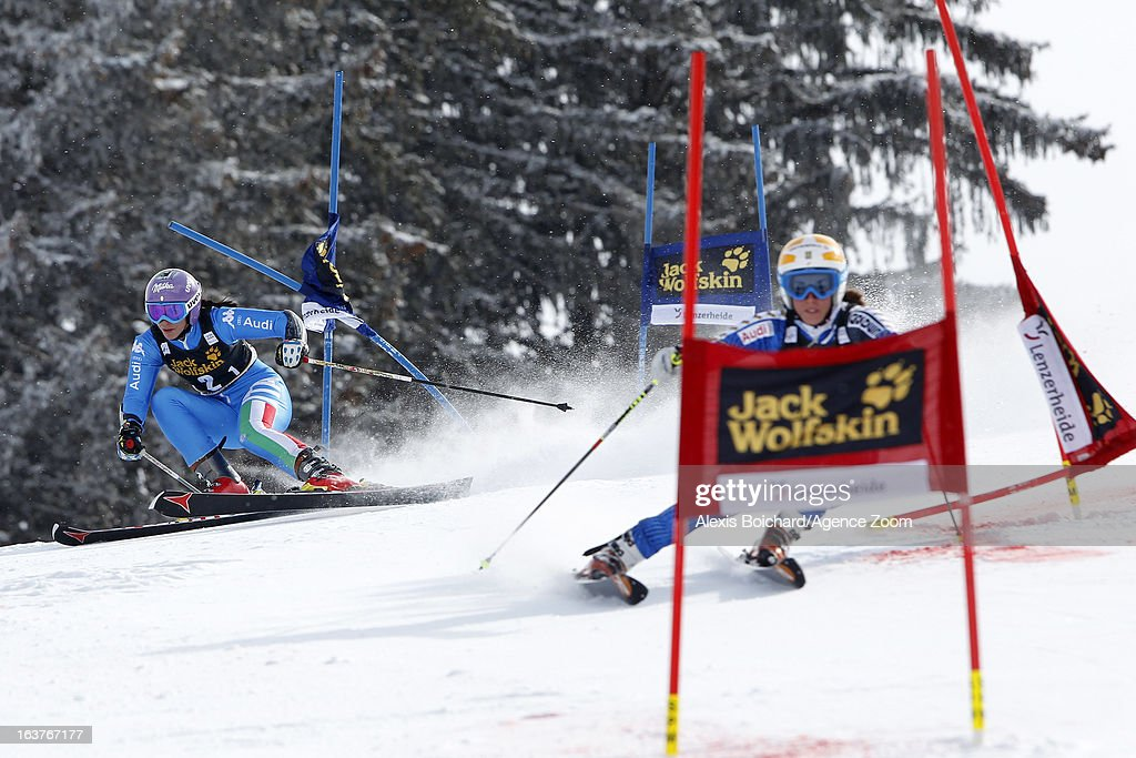 Elena Curtoni of Italy competes against Maria Pietilae-Holmner of Sweden during the Audi FIS Alpine Ski World Cup Nation's Team event on March 15, 2013 in Lenzerheide, Switzerland.