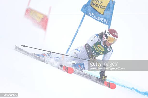 Elena Curtoni of Italy competes during the Audi FIS Alpine Ski World Cup Women's Giant Slalom on October 27 2018 in Soelden Austria