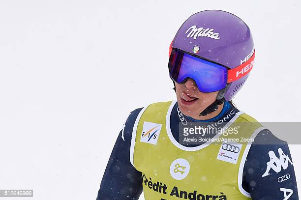 Elena Curtoni of Italy competes during the Audi FIS Alpine Ski World Cup Women's SuperG on February 27 2016 in Soldeu Andorra