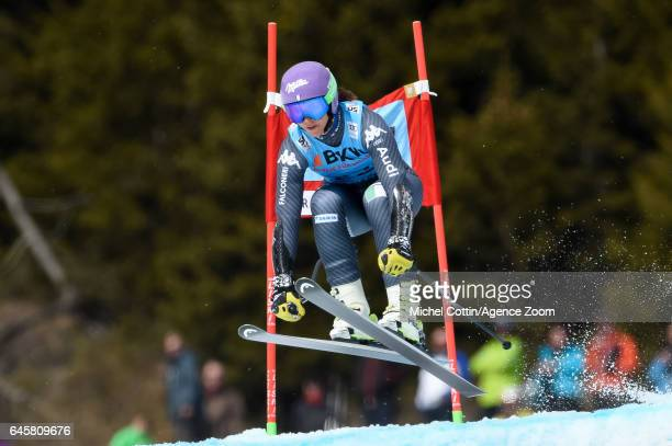 Elena Curtoni of Italy competes during the Audi FIS Alpine Ski World Cup Women's Alpine Combined on February 24 2017 in Crans Montana Switzerland