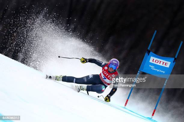 Elena Curtoni of Italy competes during the Audi FIS Ski World Cup 2017 Ladies' Super G at the Jeongseon Alpine Centre on March 5 2017 in Jeongseongun...