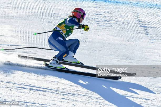 Elena Curtoni of Italy competes during the ladie's downhill event at the FIS ski alpine World Cup in Bansko, Bulgaria on January 24, 2020.