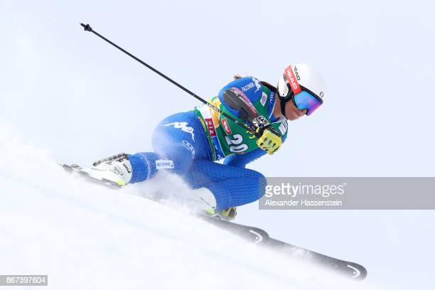 Elena Curtoni of Italy competes in the first run of the AUDI FIS Ski World Cup Ladies Giant Slalom on October 28 2017 in Soelden Austria