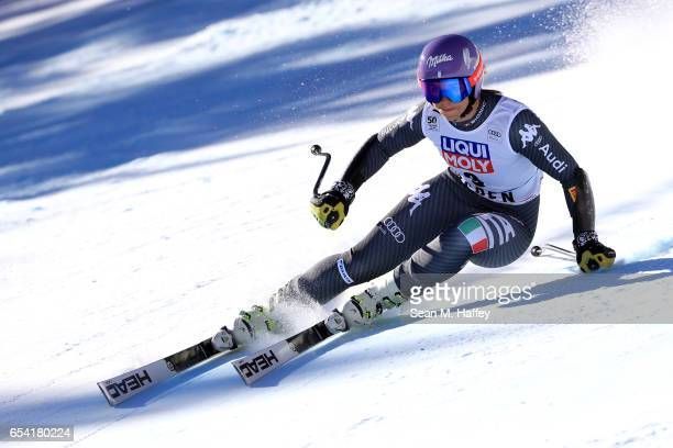 Elena Curtoni of Italy competes in the SuperG for the 2017 Audi FIS Ski World Cup Final at Aspen Mountain on March 16 2017 in Aspen Colorado