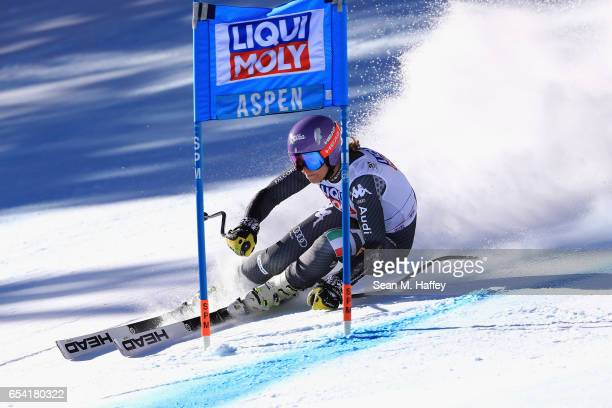 Elena Curtoni of Italy competes in the Super-G for the 2017 Audi FIS Ski World Cup Final at Aspen Mountain on March 16, 2017 in Aspen, Colorado.