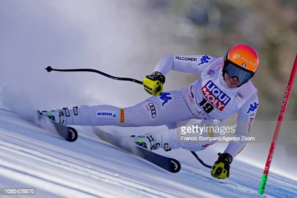 Elena Curtoni of Italy in action during the Audi FIS Alpine Ski World Cup Women's Super G on January 20, 2019 in Cortina d'Ampezzo Italy.
