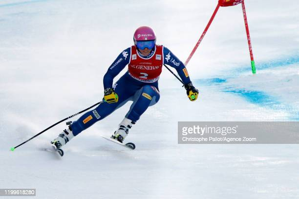 Elena Curtoni of Italy in action during the Audi FIS Alpine Ski World Cup Women's Super G on February 9, 2020 in Garmisch Partenkirchen, Germany.
