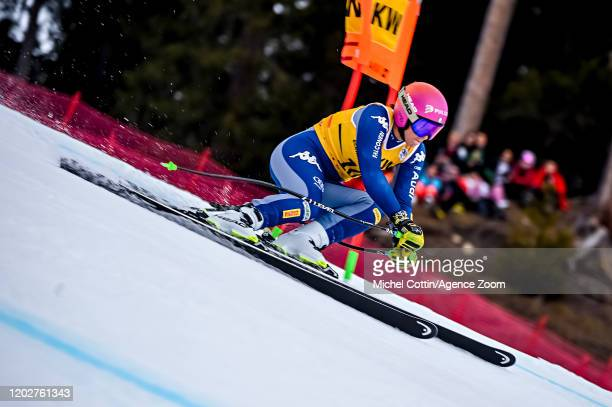 Elena Curtoni of Italy in action during the Audi FIS Alpine Ski World Cup Women's Alpine Combined on February 23, 2020 in Crans Montana Switzerland.