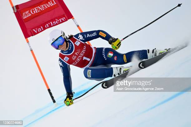 Elena Curtoni of Italy in action during the Audi FIS Alpine Ski World Cup Women's Super Giant Slalom on December 20, 2020 in Val d'Isere France.