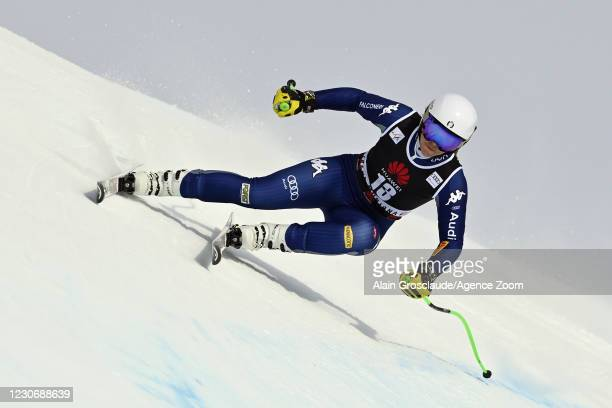 Elena Curtoni of Italy in action during the Audi FIS Alpine Ski World Cup Women's Downhill Training on January 20 - January 21, 2021 in Crans Montana...