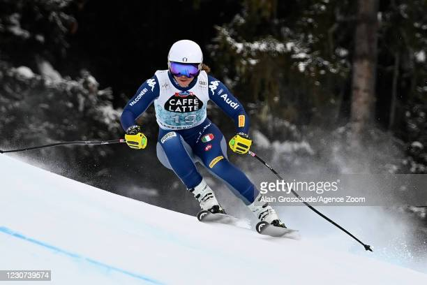 Elena Curtoni of Italy in action during the Audi FIS Alpine Ski World Cup Women's Downhill on January 23, 2021 in Crans Montana Switzerland.