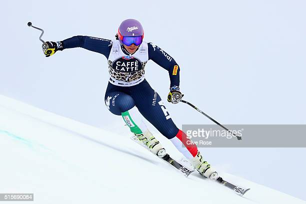 Elena Curtoni of Italy in action during the Audi FIS Alpine Skiing World Cup Women's downhill training on March 15 2016 in St Moritz Switzerland
