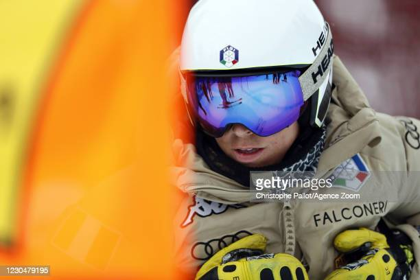 Elena Curtoni of Italy inspects the course during the Audi FIS Alpine Ski World Cup Women's Downhill Training on January 8, 2021 in ST ANTON Austria.