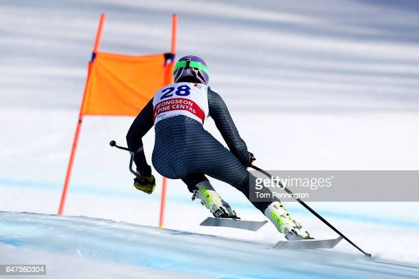 Elena Curtoni of Italy skis the course during the Audi FIS Ski World Cup 2017 Ladies' Downhill Training at the Jeongseon Alpine Centre on March 3,...