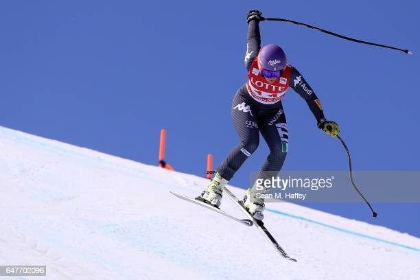 Elena Curtoni of Italy skis the course during the Audi FIS Ski World Cup 2017 Ladies' Downhill at the Jeongseon Alpine Centre on March 4, 2017 in...