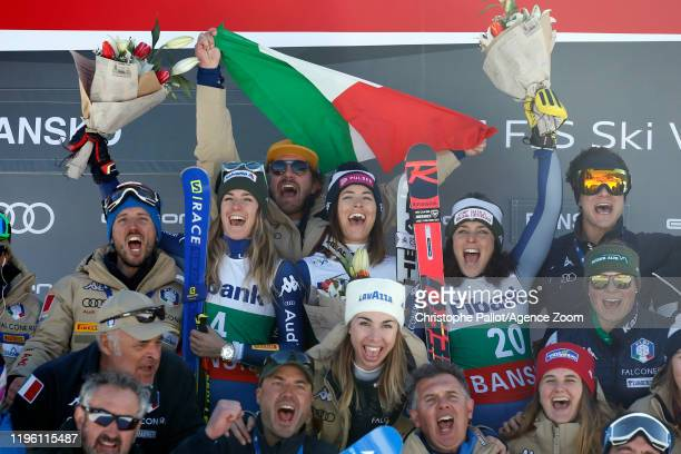 Elena Curtoni of Italy takes 1st place Marta Bassino of Italy takes 2nd place Federica Brignone of Italy takes 3rd place Team Italian celebrates...