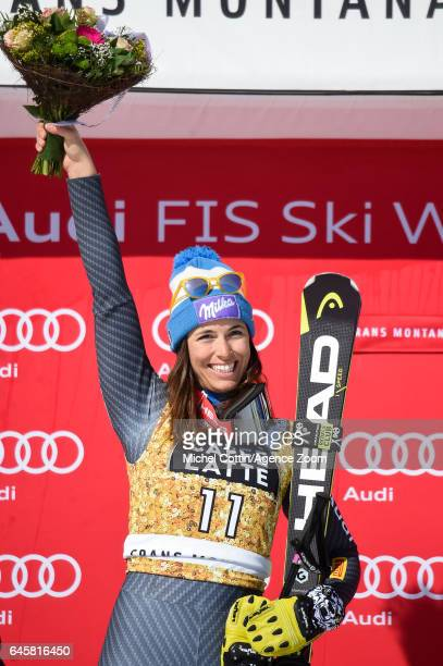 Elena Curtoni of Italy takes 2nd place during the Audi FIS Alpine Ski World Cup Women's SuperG on February 25 2017 in Crans Montana Switzerland