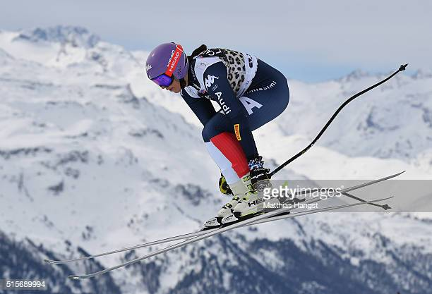 Elena Curtoni of Itlaly in action during the Audi FIS Alpine Skiing World Cup downhill training on March 15 2016 in St Moritz Switzerland