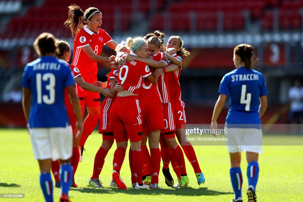 Elena Danilova (C) of Russia celebrate with her team mates after scoring the opening goal during the Group B match between Italy and Russia during the UEFA Women's Euro 2017 at Sparta Stadion on July 17, 2017 in Rotterdam, Netherlands.