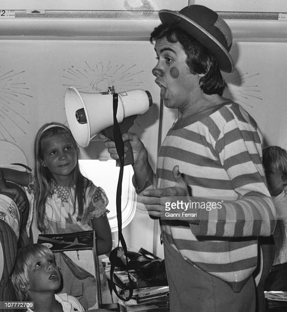 Elena daughter of Princes Juan Carlos and Sofia and Paul son of Kings of Greece Constantine and Anamaria in a children's party in a plane with clowns...