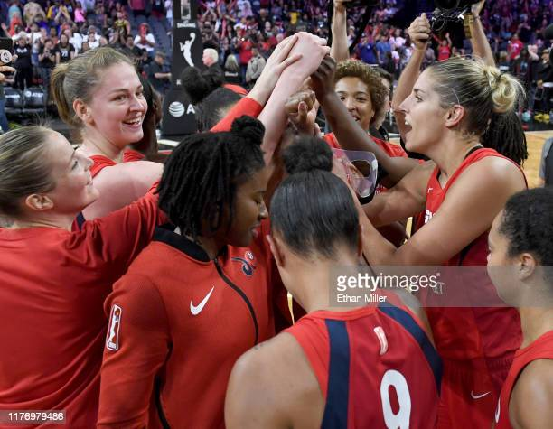 Elena Delle Donne of the Washington Mystics talks to teammates on the court after they defeated the Las Vegas Aces 9490 to win Game Four of the 2019...