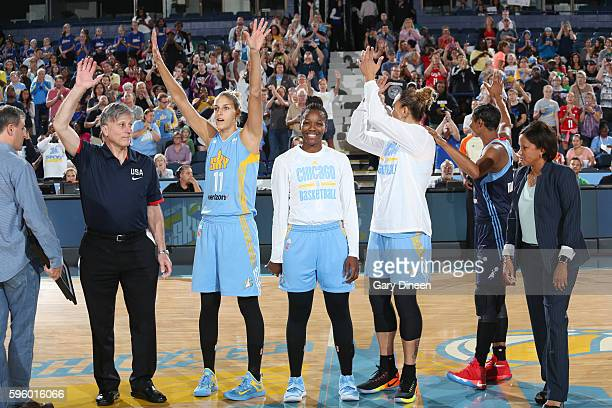 Elena Delle Donne and Clarissa Dos Santos of the Chicago Sky wave to the crowd before the game against the Atlanta Dream on August 26 2016 at the...