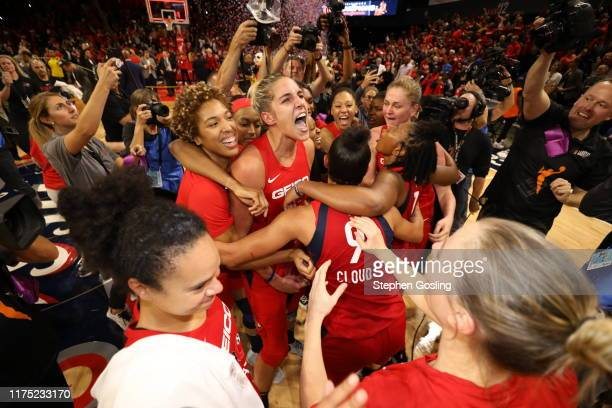 Elena Delle Donne and Tianna Hawkins of the Washington Mystics celebrates after winning the 2019 WNBA Finals against the Connecticut Sun during Game...