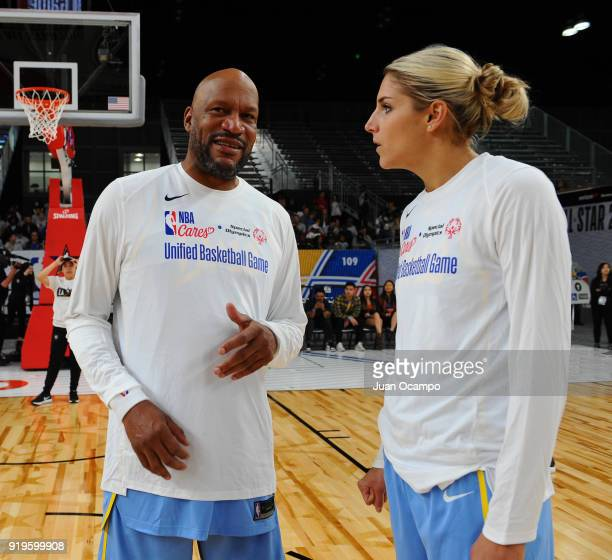 Elena Delle Donne of the Chicago Sky and former NBA player Ron Harper talk during the 2018 NBA Cares Unified Basketball Game as part of 2018 NBA...