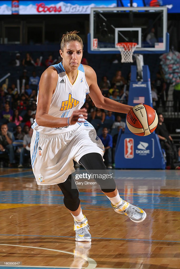 Elena Delle Donne #11 of the Chicago Sky dribbles the ball up the court during the game against the Phoenix Mercury on September 11, 2013 at the Allstate Arena in Rosemont, Illinois.