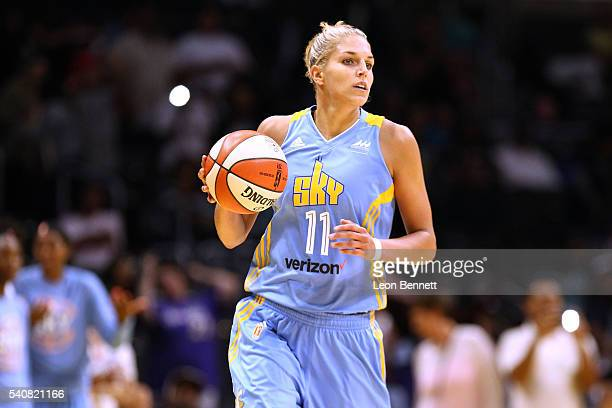 Elena Delle Donne of the Chicago Sky handles the ball against the Los Angeles Sparks during WNBA basketball game at Staples Center on June 14 2016 in...