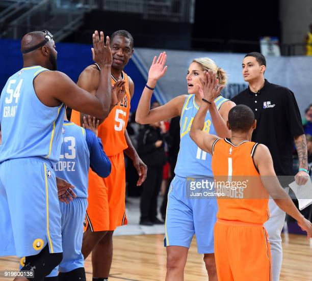 Elena Delle Donne of the Chicago Sky high fives teammates during the 2018 NBA Cares Unified Basketball Game as part of 2018 NBA AllStar Weekend on...
