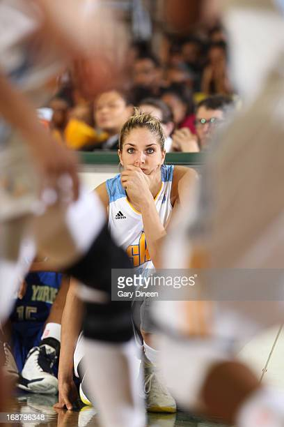 Elena Delle Donne of the Chicago Sky observes the action while waiting to enter the preseason game against the New York Liberty on May 15 2013 at the...