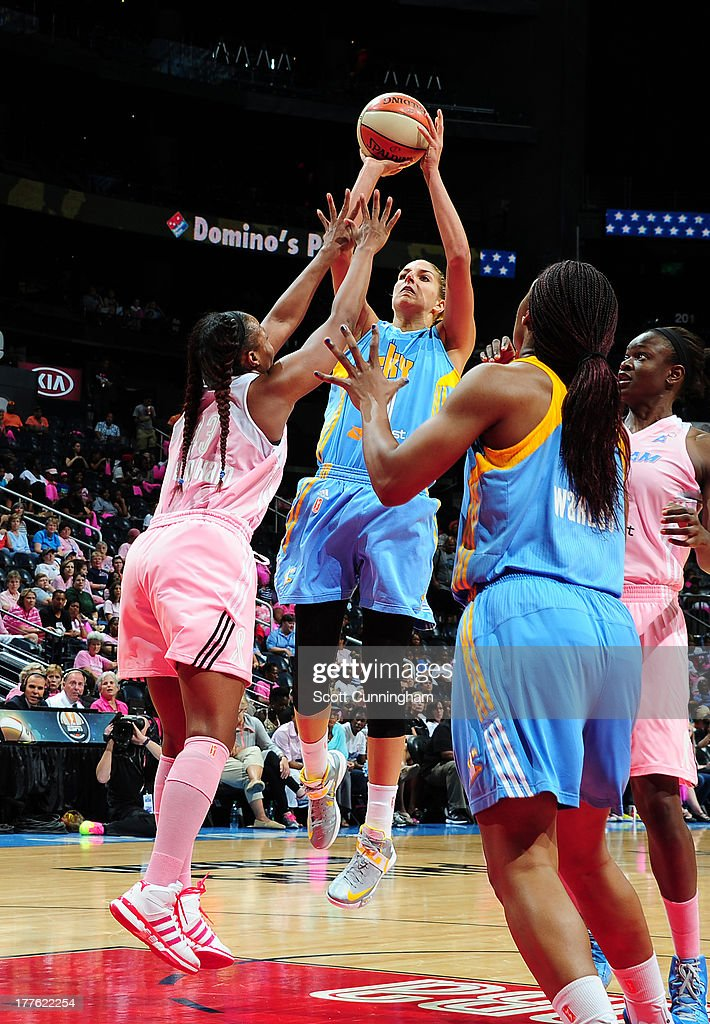 Elena Delle Donne #11 of the Chicago Sky puts up a shot against the Atlanta Dream at Philips Arena on August 24 2013 in Atlanta, Georgia.