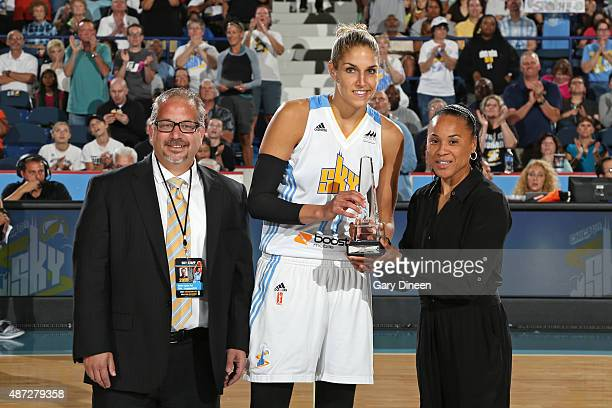 Elena Delle Donne of the Chicago Sky receives the Dawn Staley Community Leadership Award in recognition of her unparalleled work in the community in...