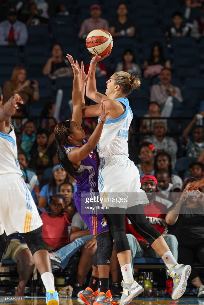 Elena Delle Donne #11 of the Chicago Sky shoots against Jasmine James #10 of the Phoenix Mercury during the game on September 11, 2013 at the Allstate Arena in Rosemont, Illinois.