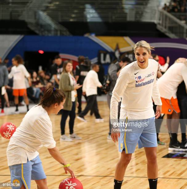 Elena Delle Donne of the Chicago Sky smiles during the 2018 NBA Cares Unified Basketball Game as part of 2018 NBA AllStar Weekend on February 17 2018...