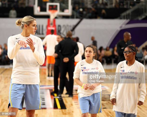 Elena Delle Donne of the Chicago Sky warms up during the 2018 NBA Cares Unified Basketball Game as part of 2018 NBA AllStar Weekend on February 17...