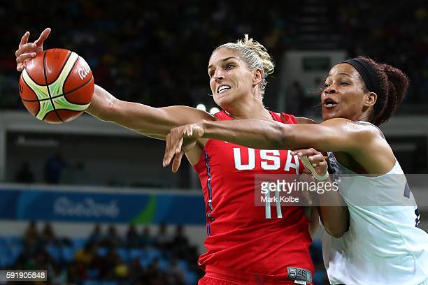 Elena Delle Donne of the United States works against Amant Marielle of France during a Women's Semifinal Basketball game between the United States...