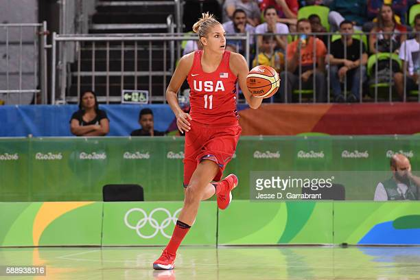 Elena Delle Donne of the USA Basketball Women's National Team brings the ball up court against Canada on Day 7 of the Rio 2016 Olympic Games at...
