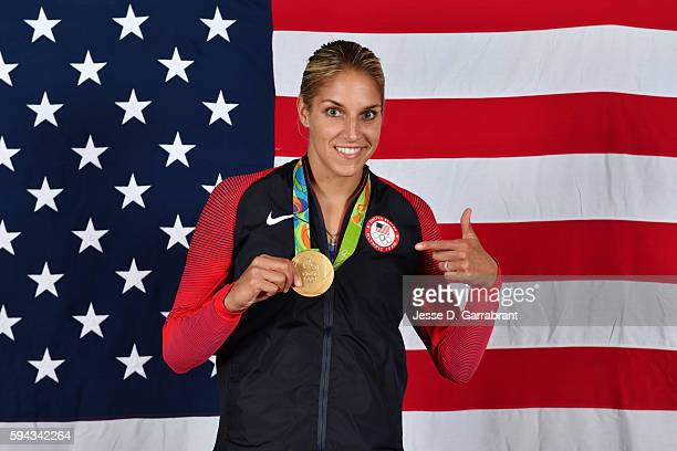 Elena Delle Donne of the USA Basketball Women's National Team poses after winning the Gold Medal at the Rio 2016 Olympic games on August 20 2016 NOTE...