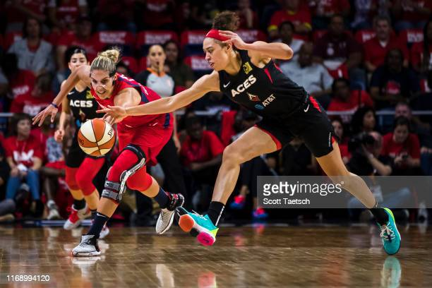 Elena Delle Donne of the Washington Mystics and Dearica Hamby of the Las Vegas Aces vie for the ball during the first half of Game One of the 2019...