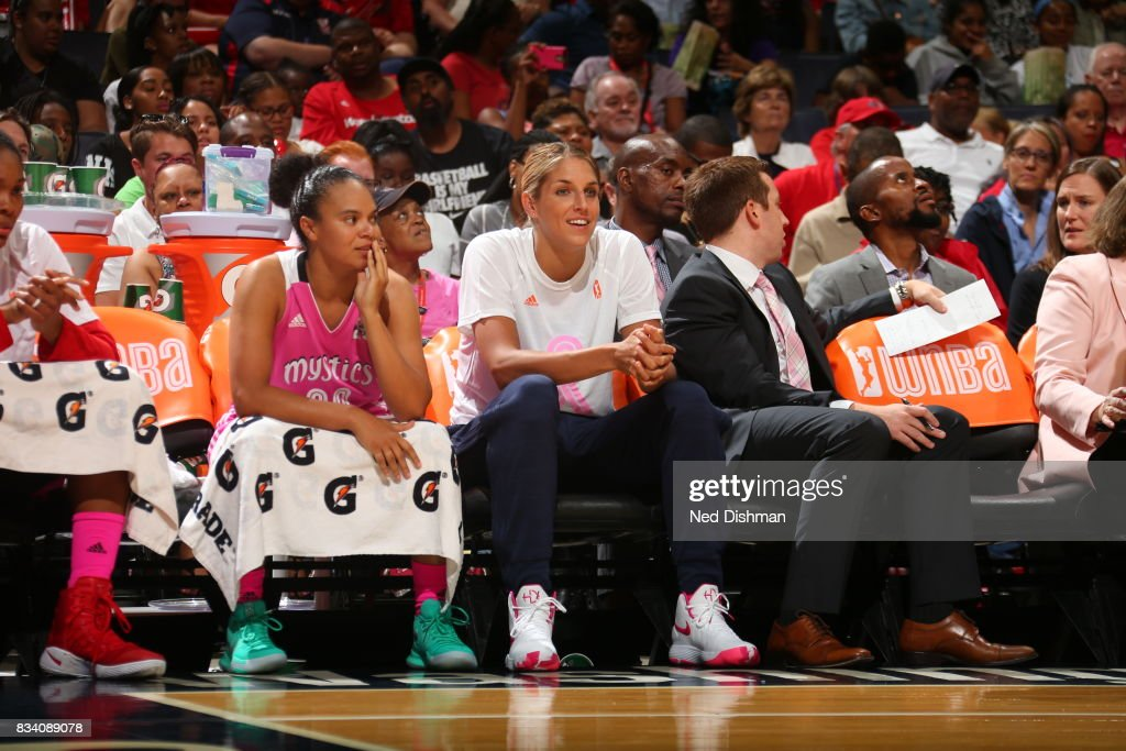 Elena Delle Donne #11 of the Washington Mystics and Kristi Toliver #20 of the Washington Mystics look on during the game against the Los Angeles Sparks on August 16, 2017 at the Verizon Center in Washington, DC.