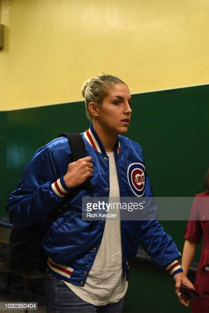 Elena Delle Donne of the Washington Mystics arrives at the arena before the game Storm in Game Three of the 2018 WNBA Finals on September 12 2018 at...