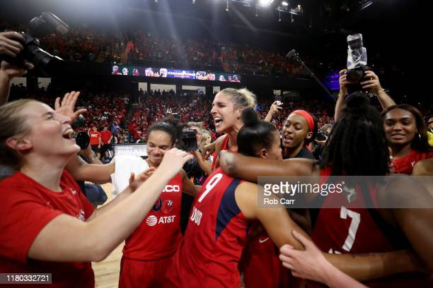 Elena Delle Donne of the Washington Mystics celebrates with teammates after defeating the Connecticut Sun to win the 2019 WNBA Finals at St...