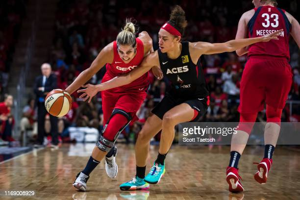 Elena Delle Donne of the Washington Mystics dribbles the ball against Dearica Hamby of the Las Vegas Aces during the second half of Game One of the...