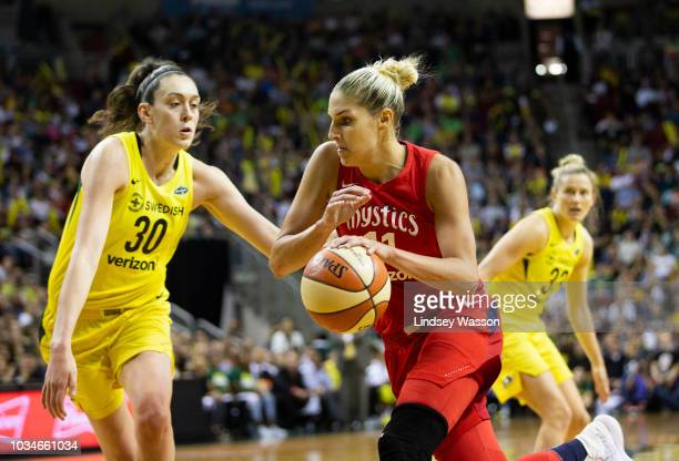 Elena Delle Donne of the Washington Mystics drives to the basket against Breanna Stewart of the Seattle Storm during the first half of Game 2 of the...