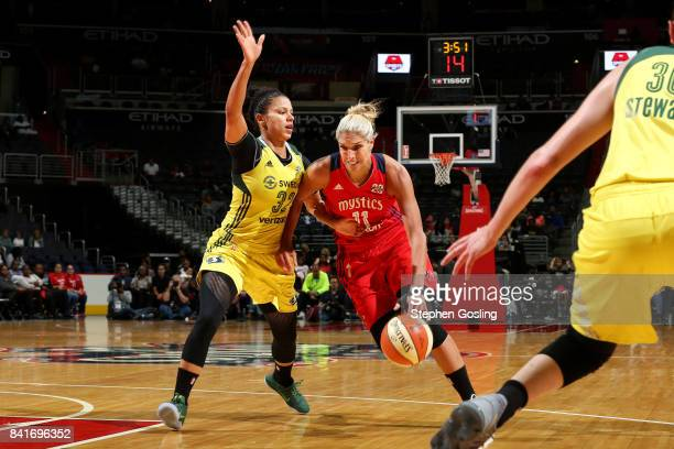 Elena Delle Donne of the Washington Mystics drives to the basket during the game against the Seattle Storm during a WNBA game on September 1 2017 at...