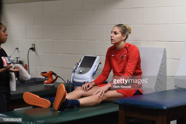Elena Delle Donne of the Washington Mystics gets taped before the game against the Seattle Storm during Game Three of the 2018 WNBA Finals on...
